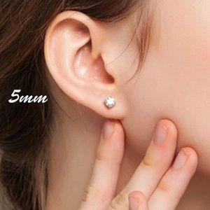 925 Sterling Silver 5mm CZ Earrings